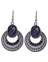 Saadi Gali Sophisticated and timeless round shaped earrings accentuated with black stone
