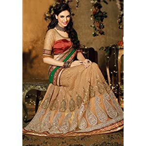 Green and Beige Faux Georgette and Net Lehenga Style Saree with Blouse