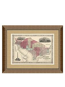 "Johnson and Ward Antique Map of Washington DC, 1860's, 24"" x 26"""