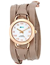 La Mer Collections Women's LMSATURN002 Gold-Plated Watch with Wraparound Beige Leather Band