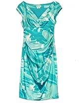 London Times Women's Cap Sleeve Placement Print Scuba Sheath Black/Pink Dress 4