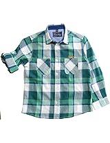 Peach Boys Long Sleeve Cotton Shirt With Green & white Checks.
