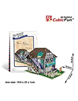 3 D Jigsaw Puzzle Flower House Cubic Fun 3 D Puzzle W3120h 31 Pieces Decorative Fashion Best Seller Cubic Fun Exiting Fun Educational Historic Playing Building Game Diy Holiday Kids Best Gift Toy Set