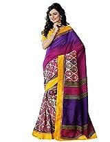 Riti Riwaz Magenta Bhagalpuri Silk Casual Saree with Unstitched Blouse NRV6510B