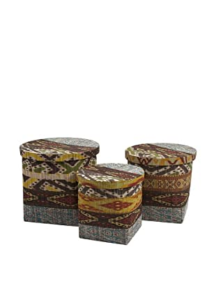 Set of 3 Tymon Water Hyacinth Baskets with Lids