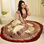 Net Off White Resham and Zari Work Semi Stitched Lehenga