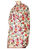 Indian Fashion Guru, White, flower design, Embroidery shawls