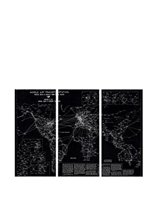 Oliver Gal World Air Transportation Map 1950 Triptych Canvas Art