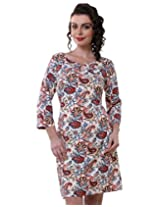 Purys Women's Bodycon Dress (E-150692SP7241_Ivory Multi_XL)