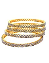 Aabhushan Jewels Cz Gold Plated Bangle Set For Women