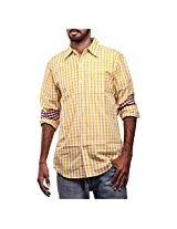 Urban Polo Club Yellow Multicolored Shirt Extra Large- Full sleeve