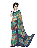 Suvastram Women Faux Crepe Printed Multi-Coloured Saree