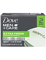 Dove Men+Care Extra Fresh Body and Face Bar 4 oz, 2 Bar