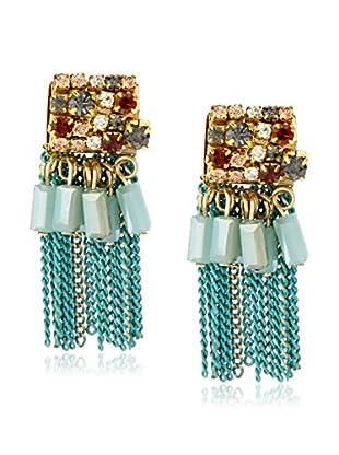 Leslie Danzis Square Gem Fringed Earrings