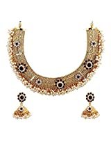Royal Bling Exquisite Black Pearl Surrounds Copper Necklace Set for Girls