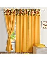 Swayam Digitally Printed Blackout Satin Window Curtain With Eyelets - Yellow