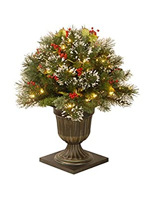 National Tree Company 4' Wintry Pine Entrance Tree Cones with Red Berries & Snowflakes