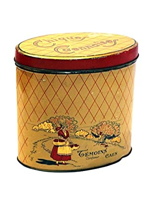 Vintage Chiques Caennaise Tin, Yellow/Red/Gold