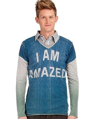 Custo T-Shirt (blau/grau/grün)