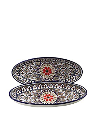 Le Souk Ceramique Tabarka Set of 2 Large Oval Platters, Multi