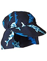 Flap Happy Baby Boys' UPF 50+ Original Microfiber Flap Hat, Shark Party, X Small