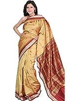 Badder-Brown Bomkai Sari with Hand-woven Bootis and Rudraksha Border