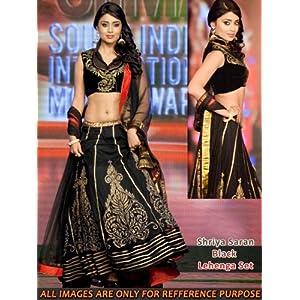 Get Style At Home Shriya Saran Velvet Lehenga Black
