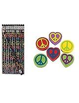 Peace Sign Pencils & Erasers (48 Pieces)