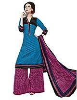 Jevi Prints Blue & Pink Cotton Printed Unstitched Dress Material