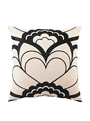 Trina Turk Deco Floral Embroidered Pillow (Black)