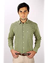 White House Yellow Checkered Regular Fit Formal Shirt