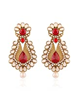 I Jewels Traditional Gold Plated Designer Pearl Earrings for Women EM2249R (Red)