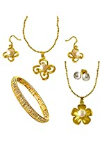 Surat Diamonds Floral Shaped Real Big Button Pearl & Gold Plated Pendant & Earring Sets with Chain & Gold Plated Kada for Women (H1435)