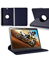 TGK Leather 360 Degree Rotating Case Cover Stand for Samsung Galaxy Tab S2 9.7 Inch SM T810 T815 - Dark Blue