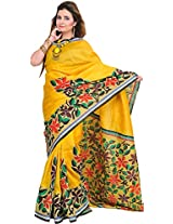 Exotic India Mimosa-Yellow Saree from Kolkata with Hand-Painted Flowers - Yellow