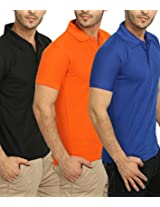 Fundoo-T Men's Combo of Black-Orange-Blue Polo T-Shirt (Small)