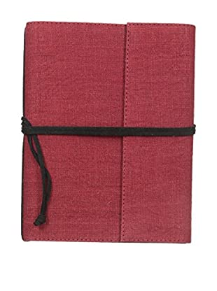 Marina Vaptzarov Medium Linen & Felt Soft Cover Notebook, Dark Red