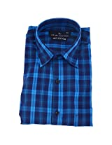 Star Cotton Blue Checks Cotton Formal Shirt for Men