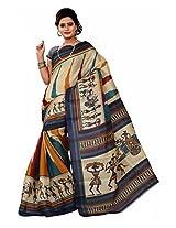 Parichay Women's Bhagalpuri Silk Saree(Blue)