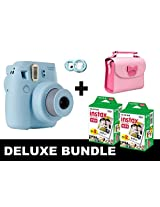 Fujifilm Instax Mini 8 - Blue + 40 Pack Instax Film + Butterfly Pink Gm Bag + Blue Selfie Mirror