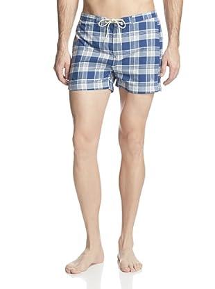 GANT Rugger Men's Check Swim Trunks (Indigo Blue)