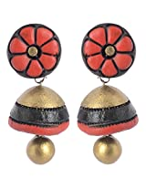 Scorched Earth Red & Gold Terracotta Jhumki Earrings for Women