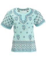 Lucknow Chikan Industry Women's Cotton Straight Kurta (LCI-406, Light Blue, S)
