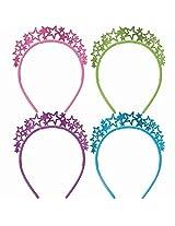 12 Metallic Star Headbands With Glitter