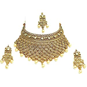 Shingar jewellery antique gold plated polki kundan look necklace set for women (5435-as-a)