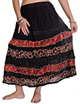 Exotic India Long Embroidered Skirt with Batik Print and Lace - Color Shell PinkGarment Size Free Size