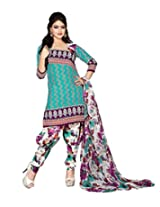 Kanheyas Cotton Dress Material with Chiffon Dupatta