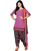 Ritiriwaz pink Cotton Patiyala Dress Material with dupatta CC1202A