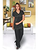 Indiatrendzs Women's 2pc Silk Satin Black Nightwear Hot Sexy Nighty