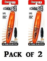 Rimmel Scandaleyes Curved Brush Mascara, Black, 0.41 Fluid Ounce (Pack of 2)